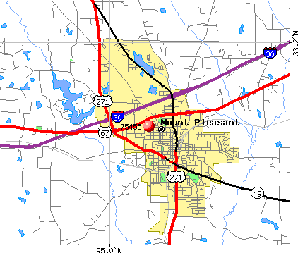 Highway map of Mount Pleasant