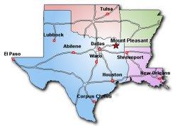 Map showing Texas, Oklahoma, Arkansas, and Louisiana