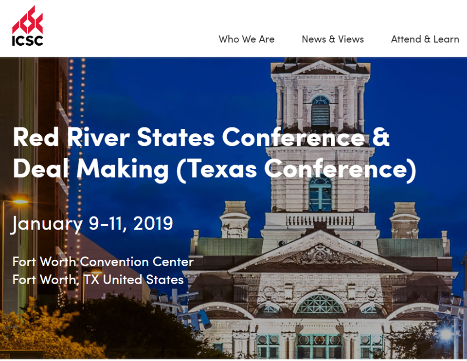 Red River States Conference & Deal Making; Jan 9-11 2019; Fort Worth Convention Center